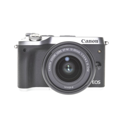 Canon EOS M6 15-45mm Kit Silber (24.2MP, 7FPS, WLAN)